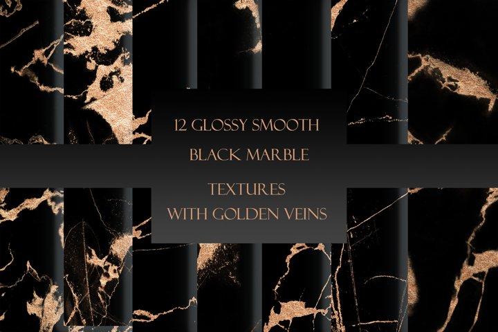 Black & Gold Glossy Marble Textures