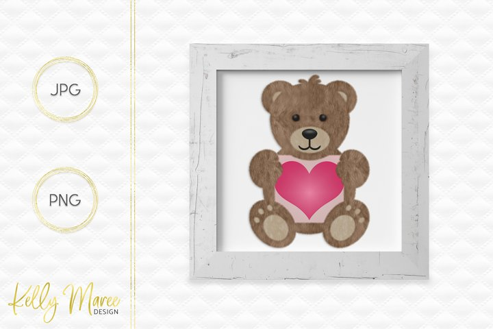 Teddy Bear Love Heart Graphic
