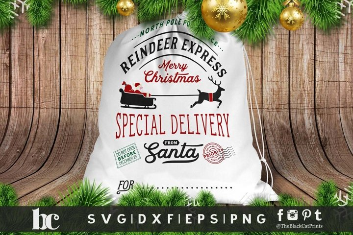 Santa bag Santa sack SVG DXF EPS PNG, Christmas gift bag svg