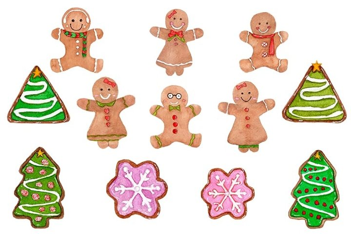 Gingerbread Christmas ClipArt,Gingerbread Watercolor