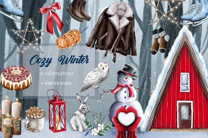 Cozy Winter Clipart, Winter vibes clipart, Holiday Clip Art