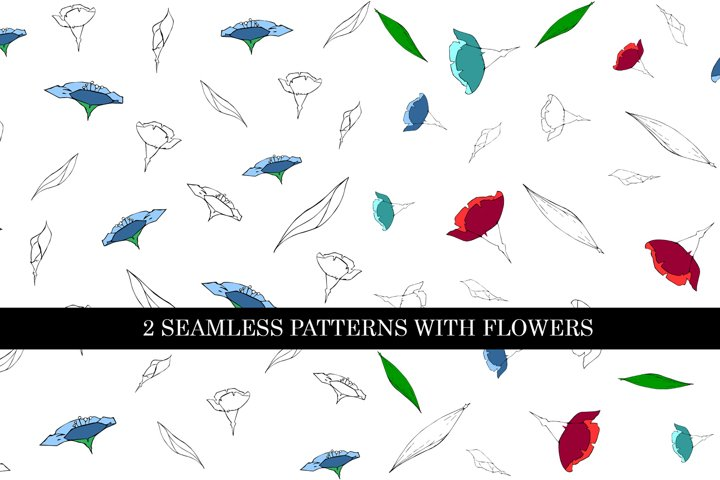 2 seamless patterns with flowers silhouettes