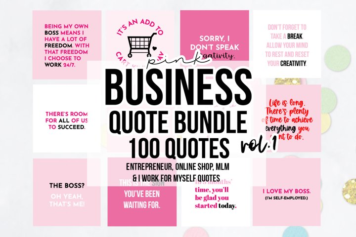 100 x Pink Business Social Media Quotes Bundle