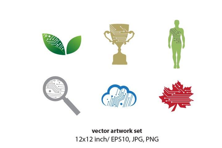 digital network - vector artwork set