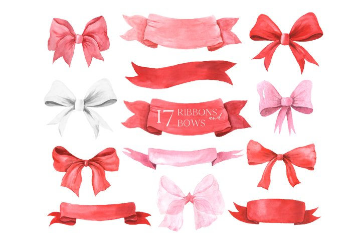 Watercolor Bows and Ribbons clipart