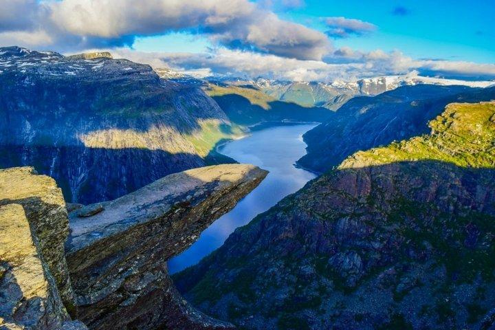 Trolltunga rock without people. Norway.