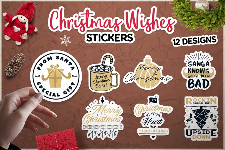Christmas Wish Stickers SVG Bundle, Print and Cut Label DXF