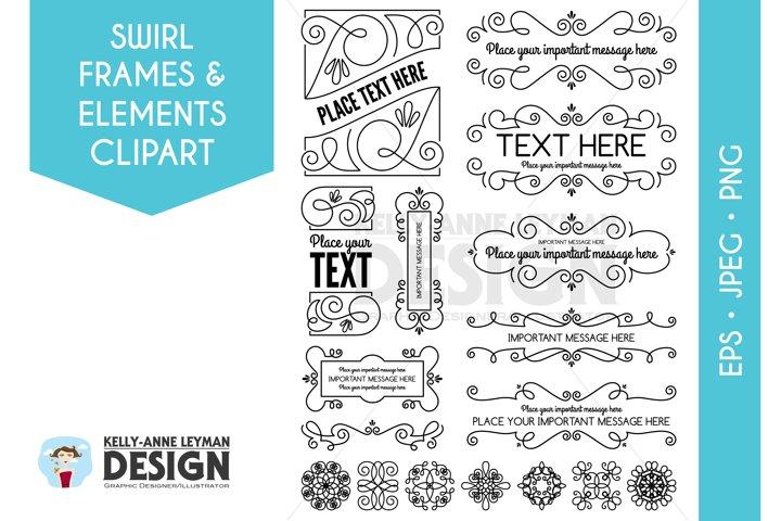 Swirl Digital Frames Clipart, Digital Labels Clip Art Set