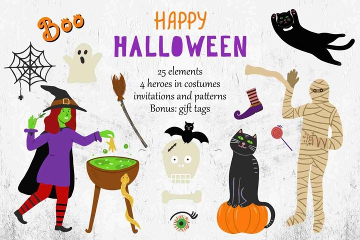 Halloween clipart, invitations and tags, seamless patterns.