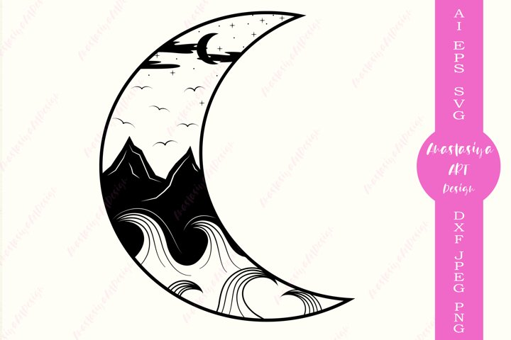 Moon and mountains svg, Camping logo, Waves silhouette