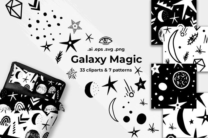 Galaxy magic vector set