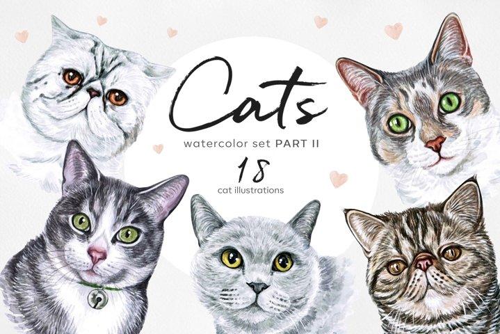 PART 2. Big watercolor set cat illustrations. Cute 18 cats.
