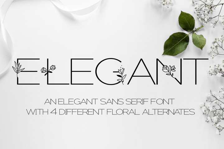 Elegant - A sans serif font decorated with florals