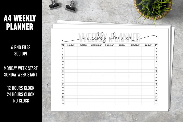 Weekly Planner A4 Decorative Lettering