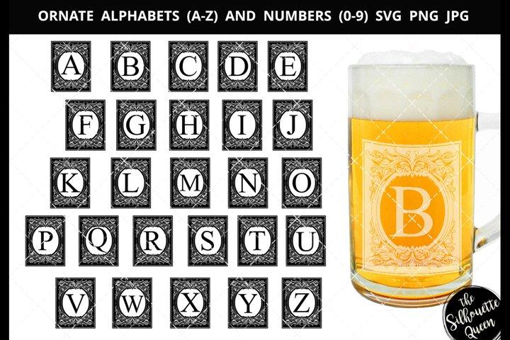 Ornate Frame Alphabet Number SVG Cut File