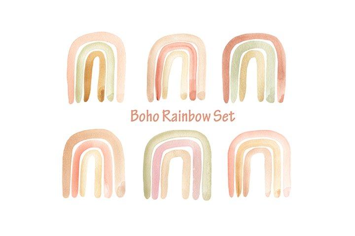 Watercolor Boho Rainbows. Delicate Beige rainbows paper PNG