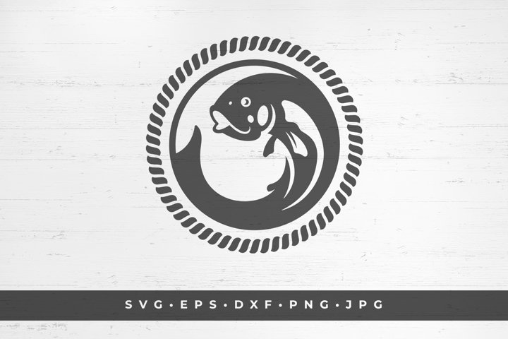 Fish in circle icon silhouette isolated on white background