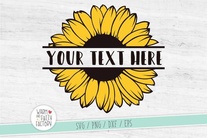 Sunflower svg, Sunflower split monogram svg, Flower svg