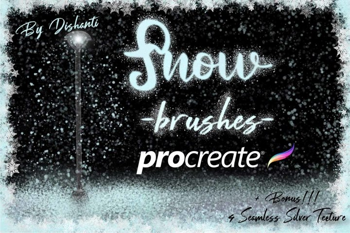 20 Procreate Snow Brushes. Winter Brushes for Procreate.