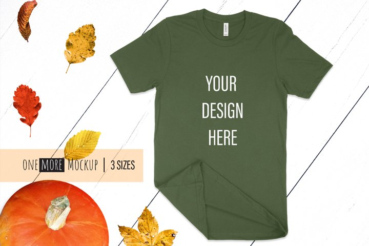 Face Mask and Tshirt Mockup | Bella Canvas 3001 Olive