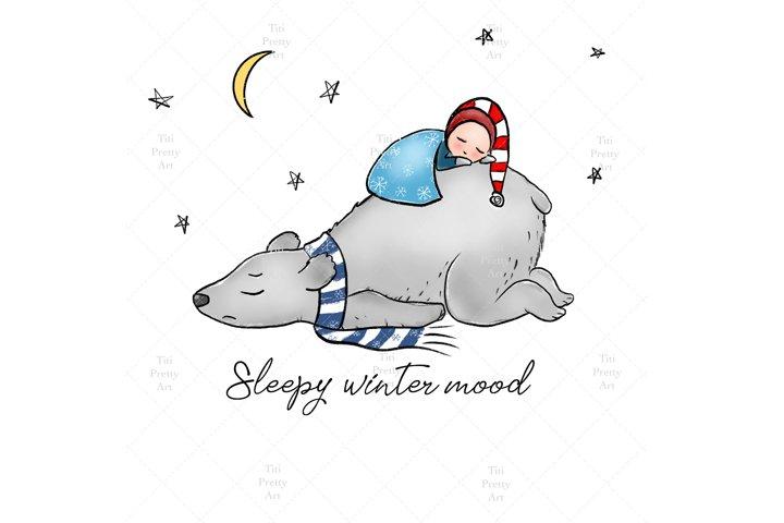 Winter Mood Patterns, Polar Bear Clipart