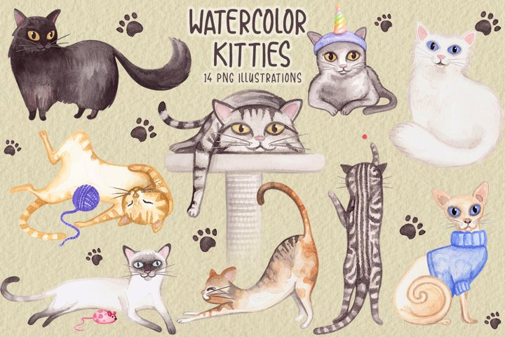 Watercolor Whimsical Cat Collection
