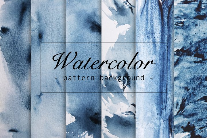6 watercolor abstract blue seamless