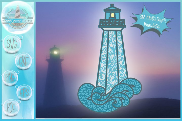 3D Layered Design | 3D Lighthouse Mandala | 3D Mandala SVG