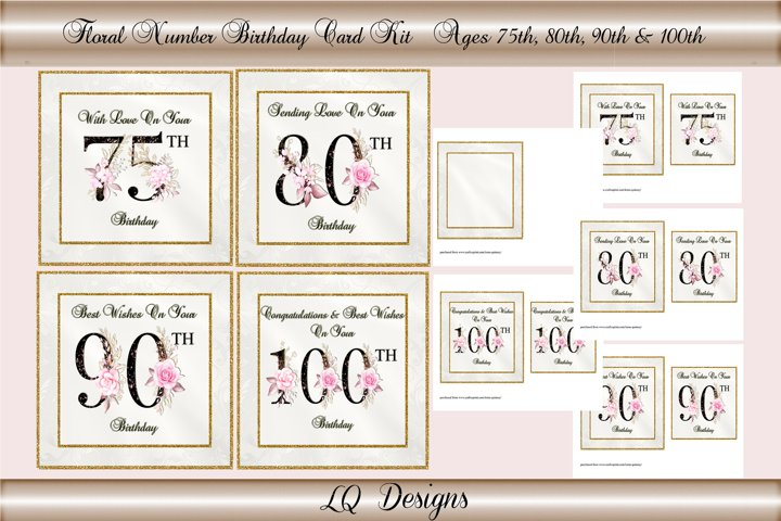 Floral Numbers Birthday Card Kit - Ages 75,80,90 & 100