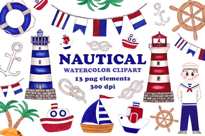 NAUTICAL watercolor clip art, png files, Marine illustration