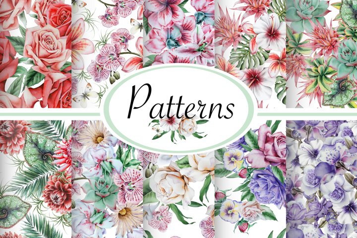 Watercolor patterns with flowers.