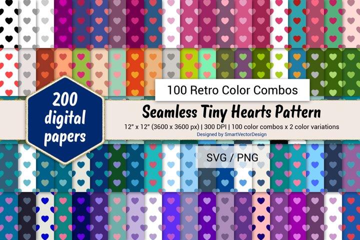 Seamless Tiny Hearts Digital Paper - 100 Retro Color Combos