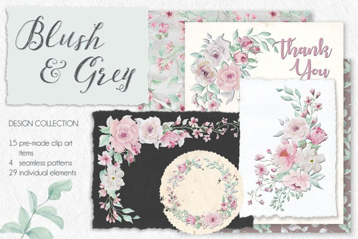 Blush and grey watercolor design set