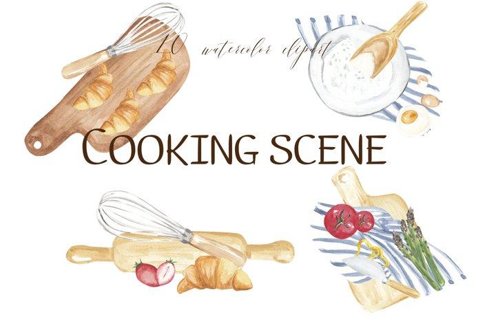 Bakery scene clipart, baking logo, cooking watercolor