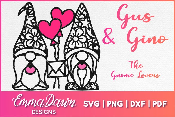 GUS & GINO THE GNOME LOVERS SVG VALENTINES DAY MANDALA