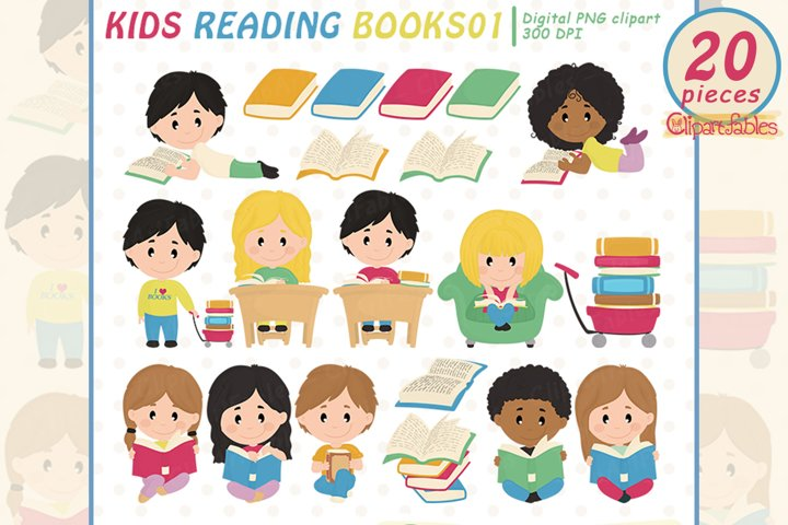 Cute KIDS READING books clipart, Education graphic, Library