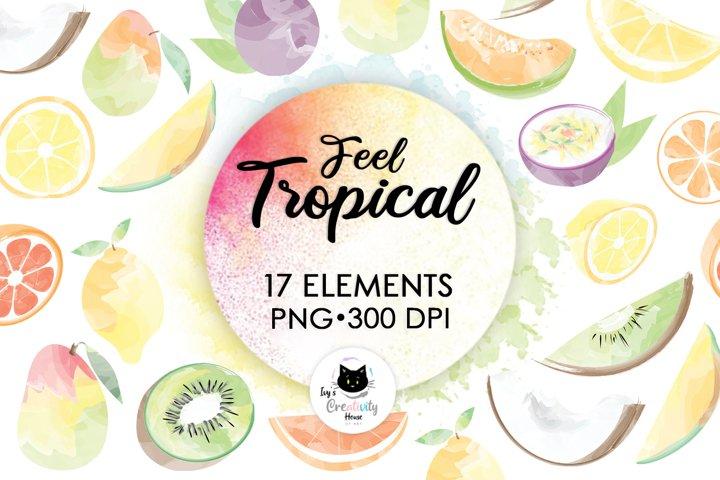 Hello Summer Sublimation Bundle | Watercolor Fruit Clipart