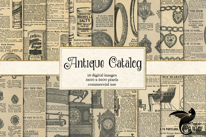 Antique Catalog Pages Digital Paper Ephemera example