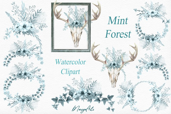 Deer Skull with Antlers, Blue Wreaths, Bouquets, Watercolor