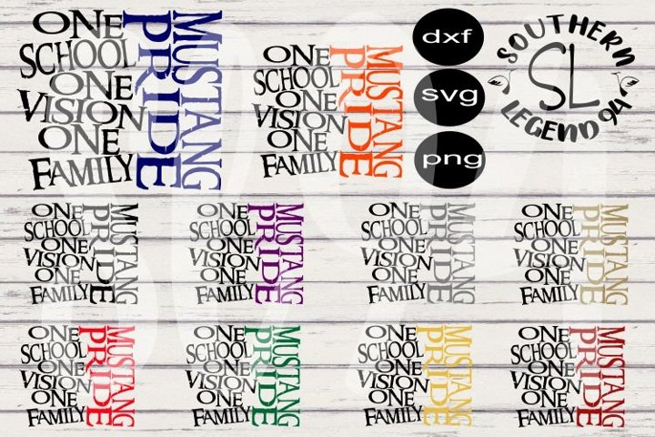 Mustang Pride One School One Vision One Family 10 set bundle