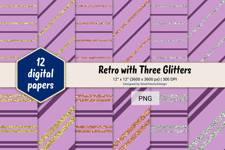 Pinstripes Retro with Three Glitters Color Combo #98