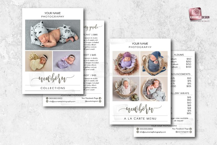 5x7 Newborn Photography Pricing Guide Template
