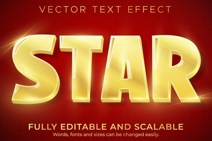 Star golden text effect, editable shiny and elegant text