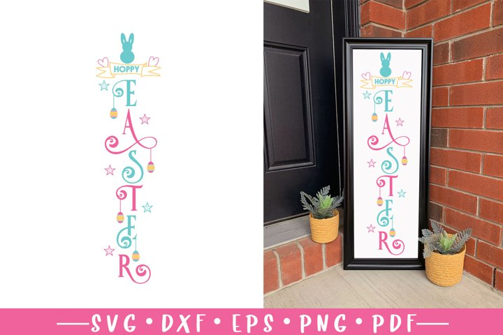 Easter Porch Sign SVG, Hoppy Easter, Easter Welcome Sign