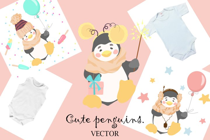 Cute, funny penguins. Cartoon. Vector design.