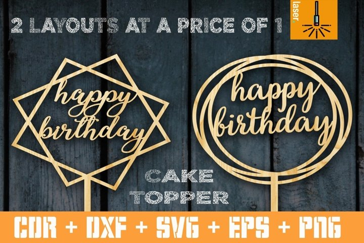 2 Happy birthday cake topper. Vector for CNC. Files for cut