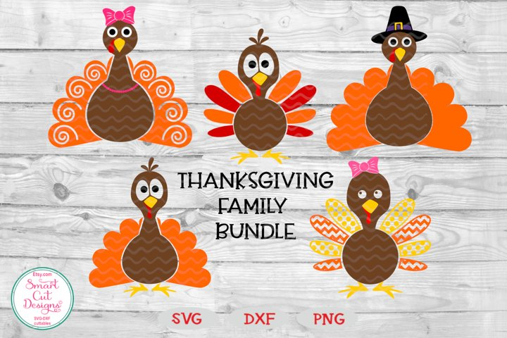 Tnaksgiving Family Bundle SVG, Turkey Family SVG, Girl, Boy