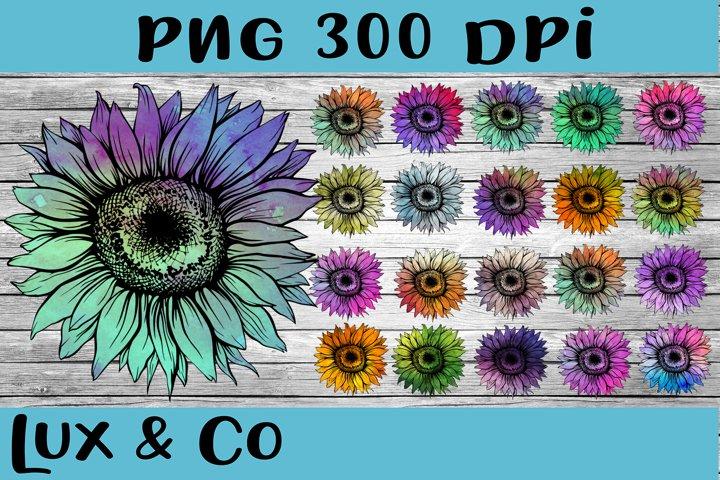 Sunflower Tie Dye Bundle Sublimation PNG