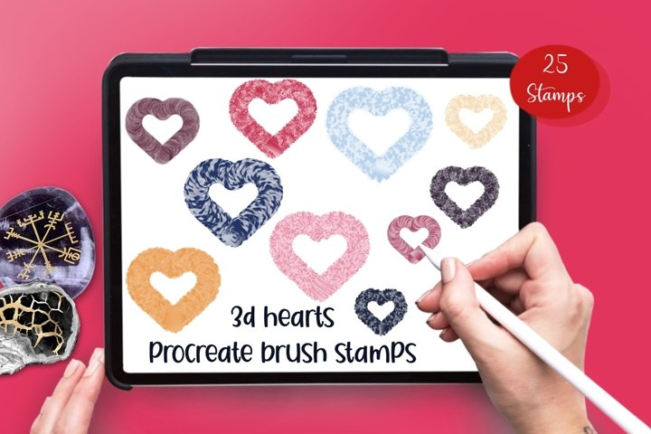 3 D Hearts 25 Procreate brush stamps