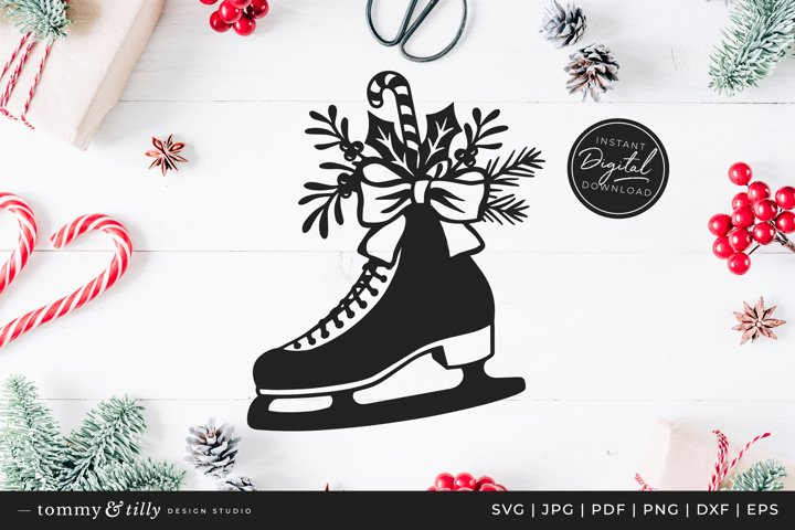 Christmas Ice Skate - SVG DXF PNG EPS JPG PDF Paper Cutting
